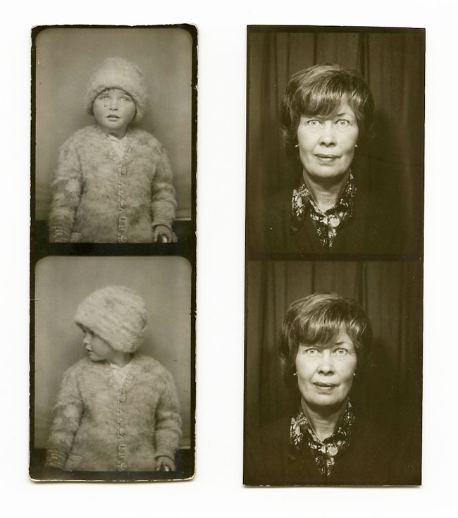 Two examples of pairs of images from different photobooths.
