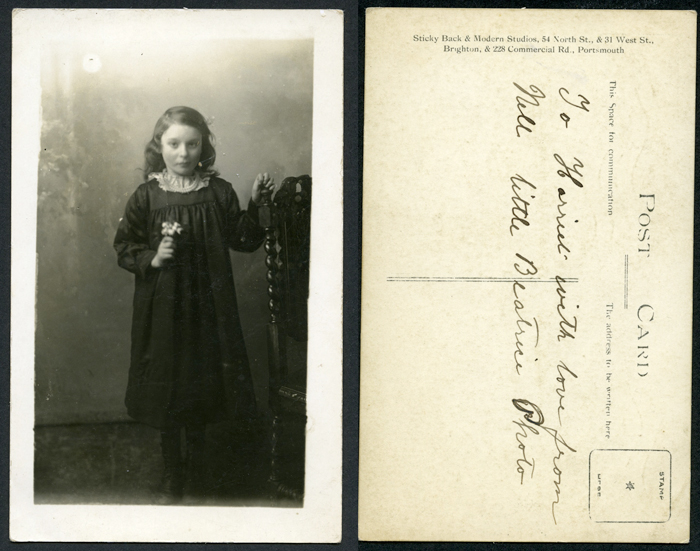 Portrait of Little Beatrice, Stickyback and Modern Studios, 54 North Street & 31 West Street Brighton and 228 Commercial Road, Portsmouth