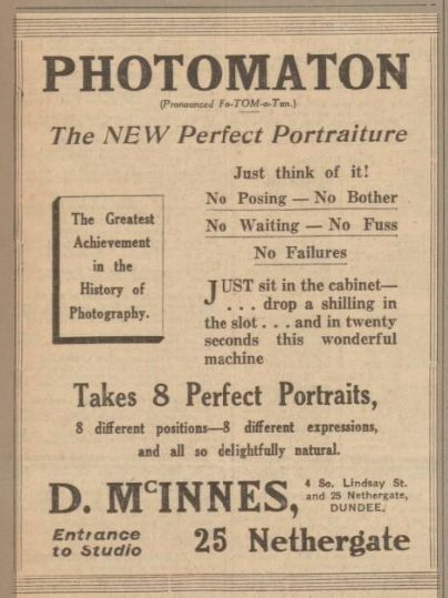 Photomaton Advertisement Dundee Courier and Advertiser 30th March 1929