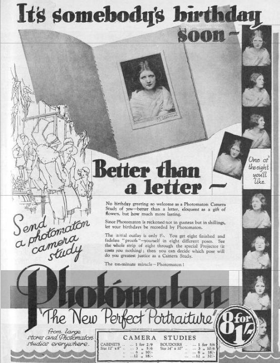 Photomaton advertisement from Britannia and Eve June 1929