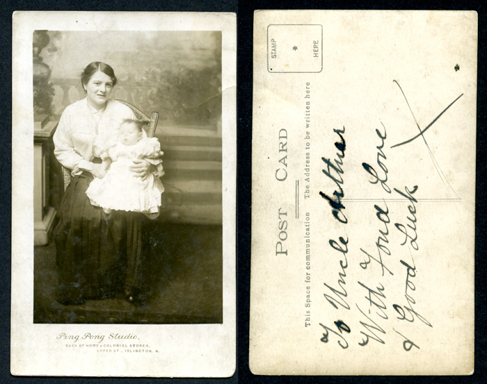 Postcard portrait of mother and child, Ping Pong Studio Islington